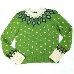 J Crew Handknit Fair isle sweater green nordic XS